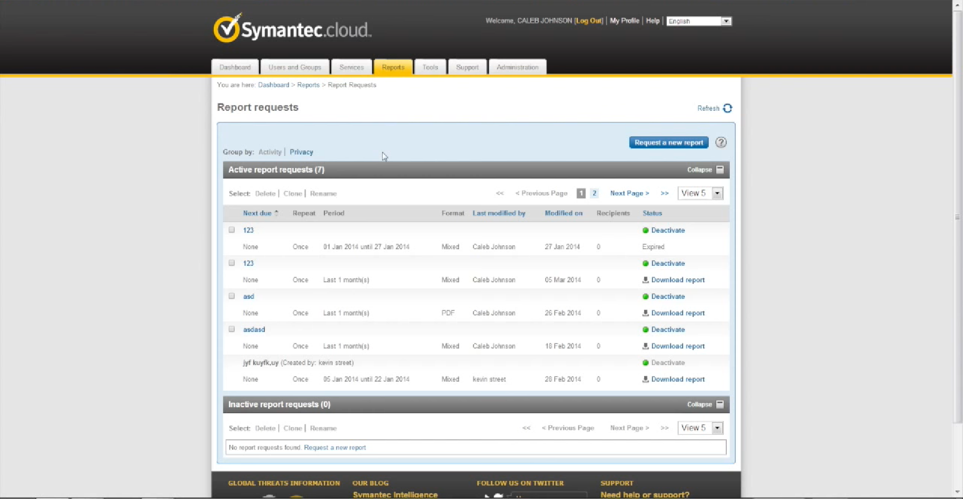 Symantec Cloud report requests
