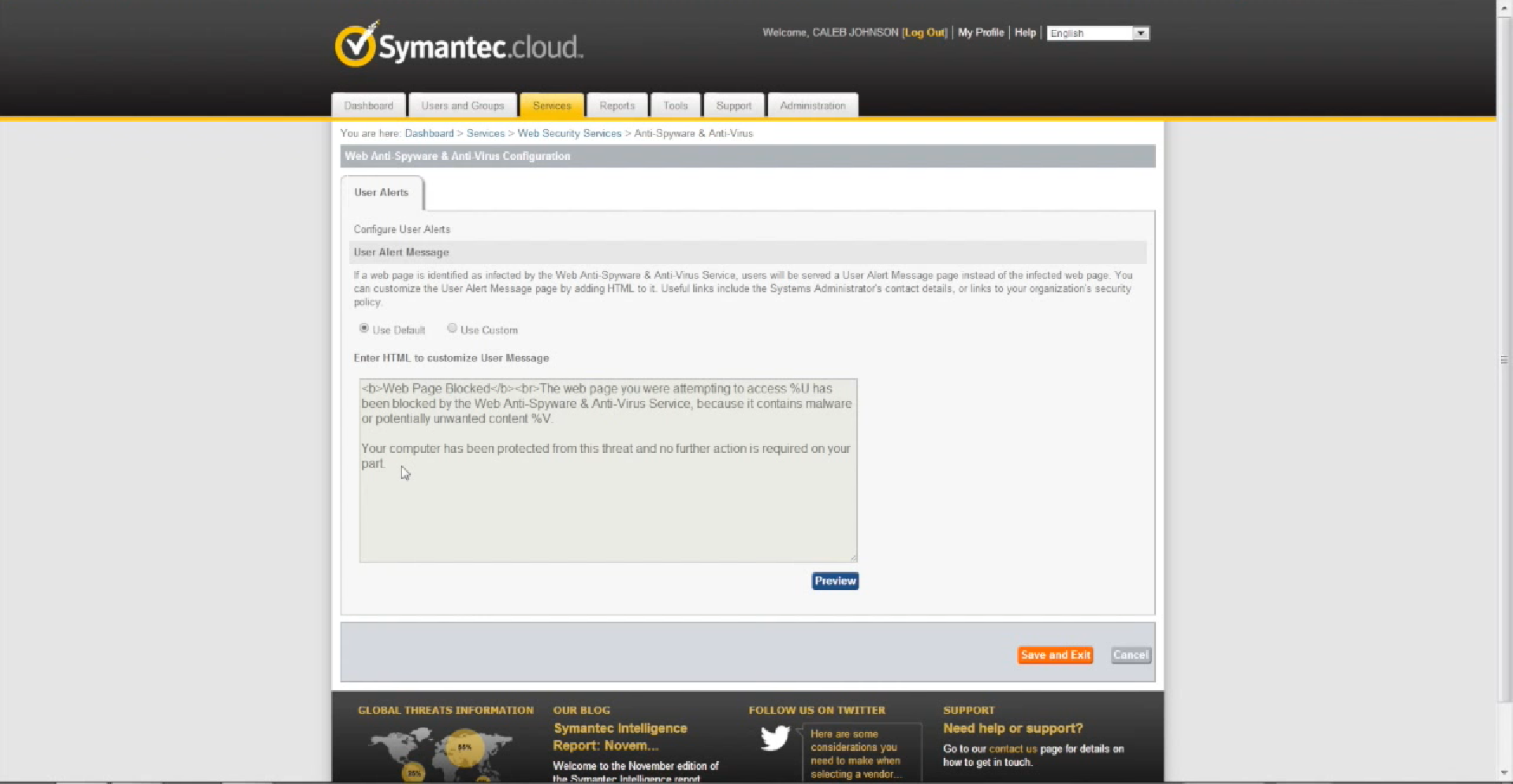 Symantec Cloud Web Anti-Spyware & Anti-Virus configuration