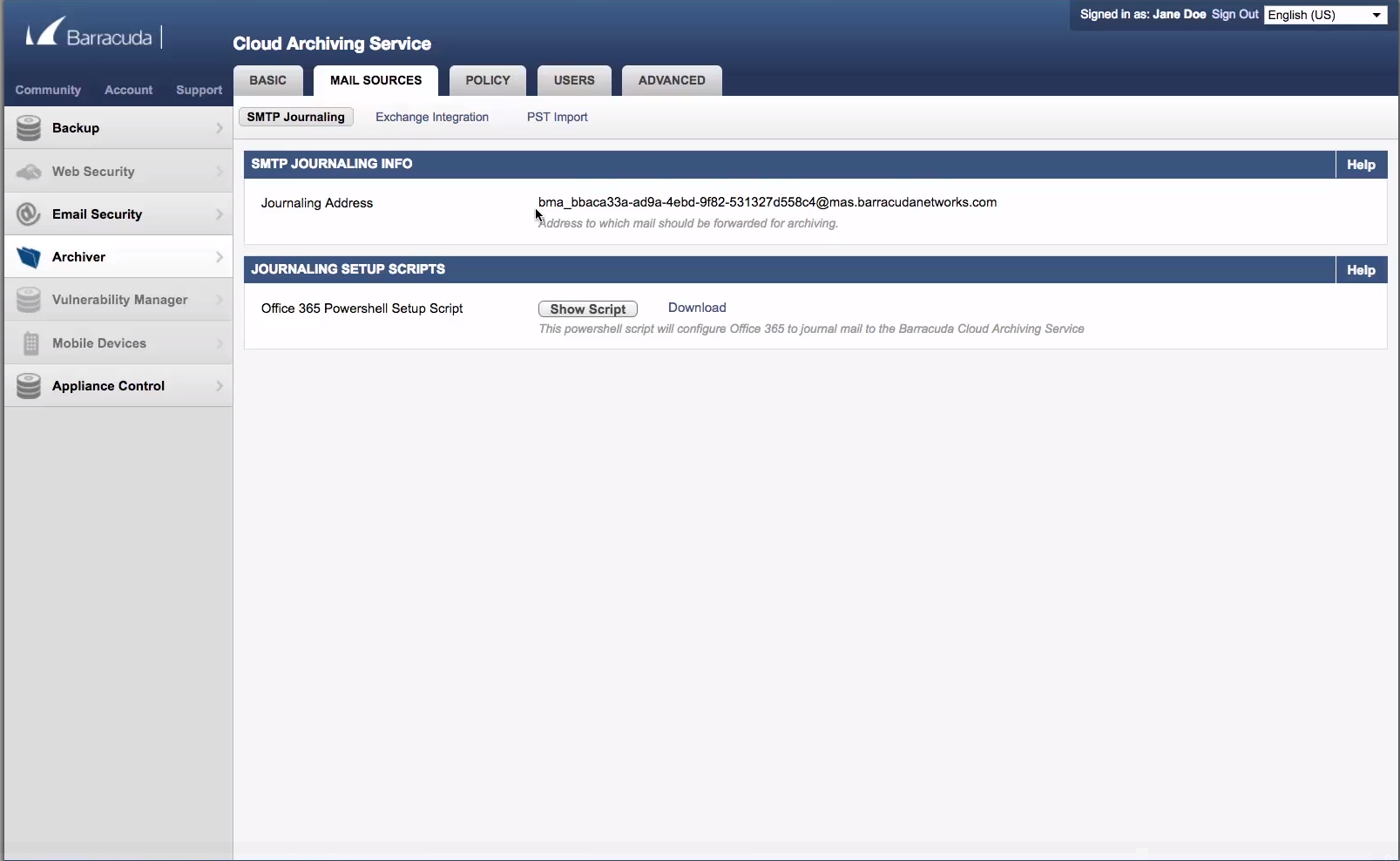 Display of journal address for Barracuda Essentials archiving