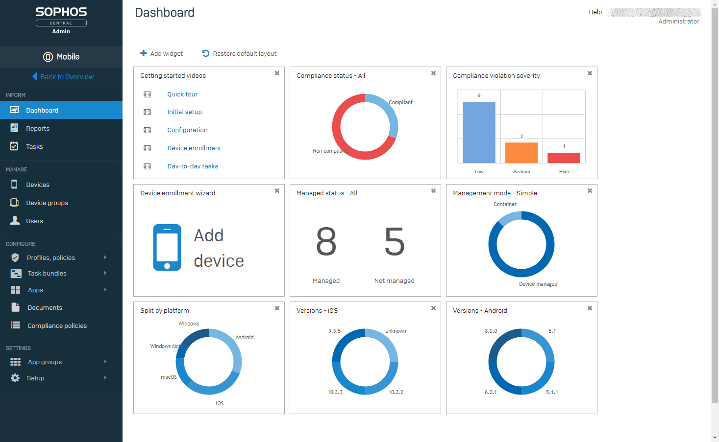 Sophos mobile admin dashboard