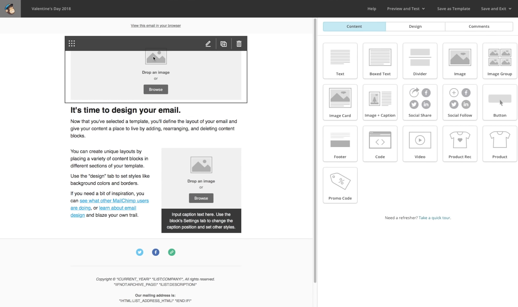 MailChimp Customising templates