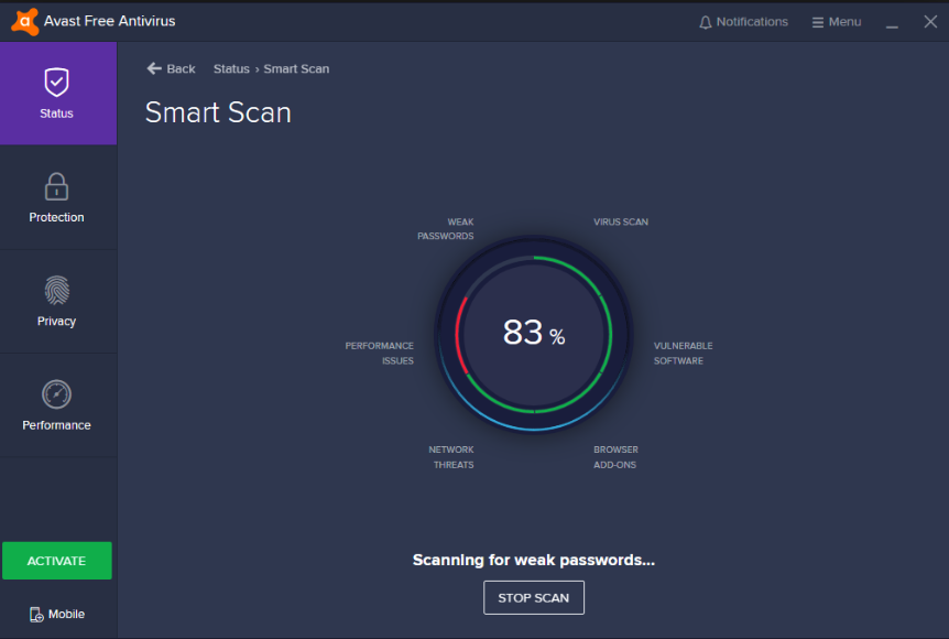 Avast anti-virus smart scan