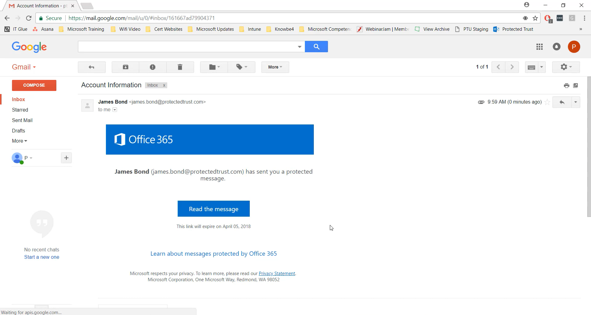 Viewing an encrypted email outside of O365