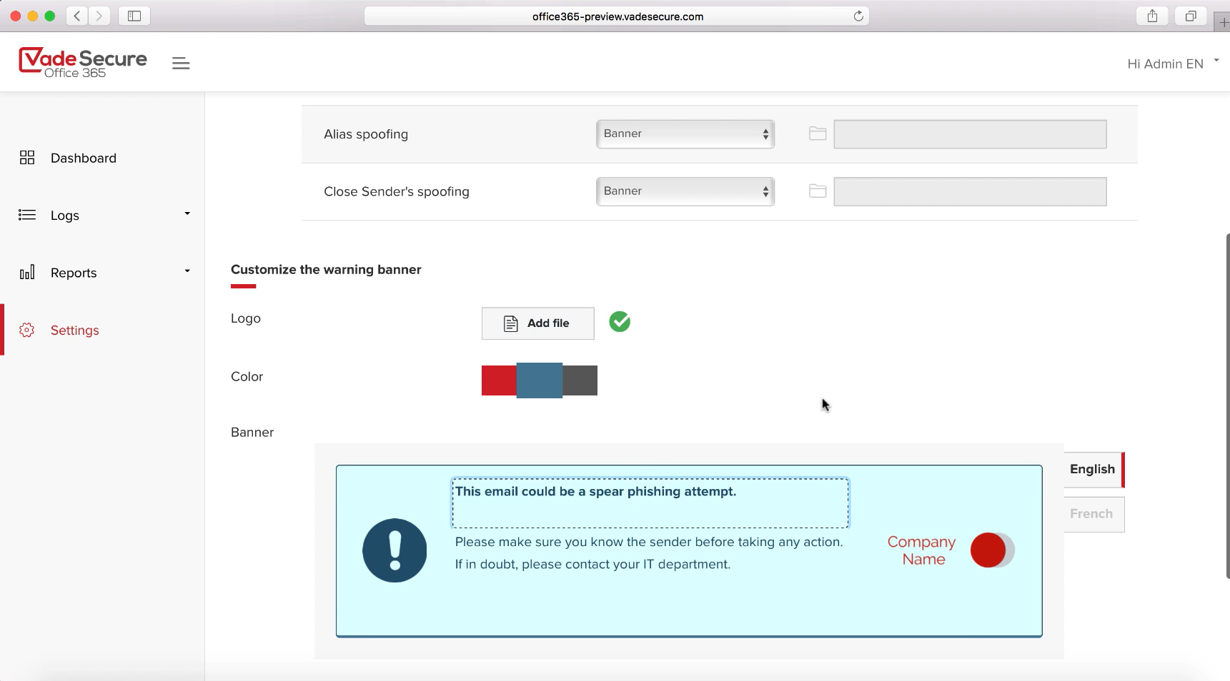 Phishing alerts on Vade Secure can be customised.