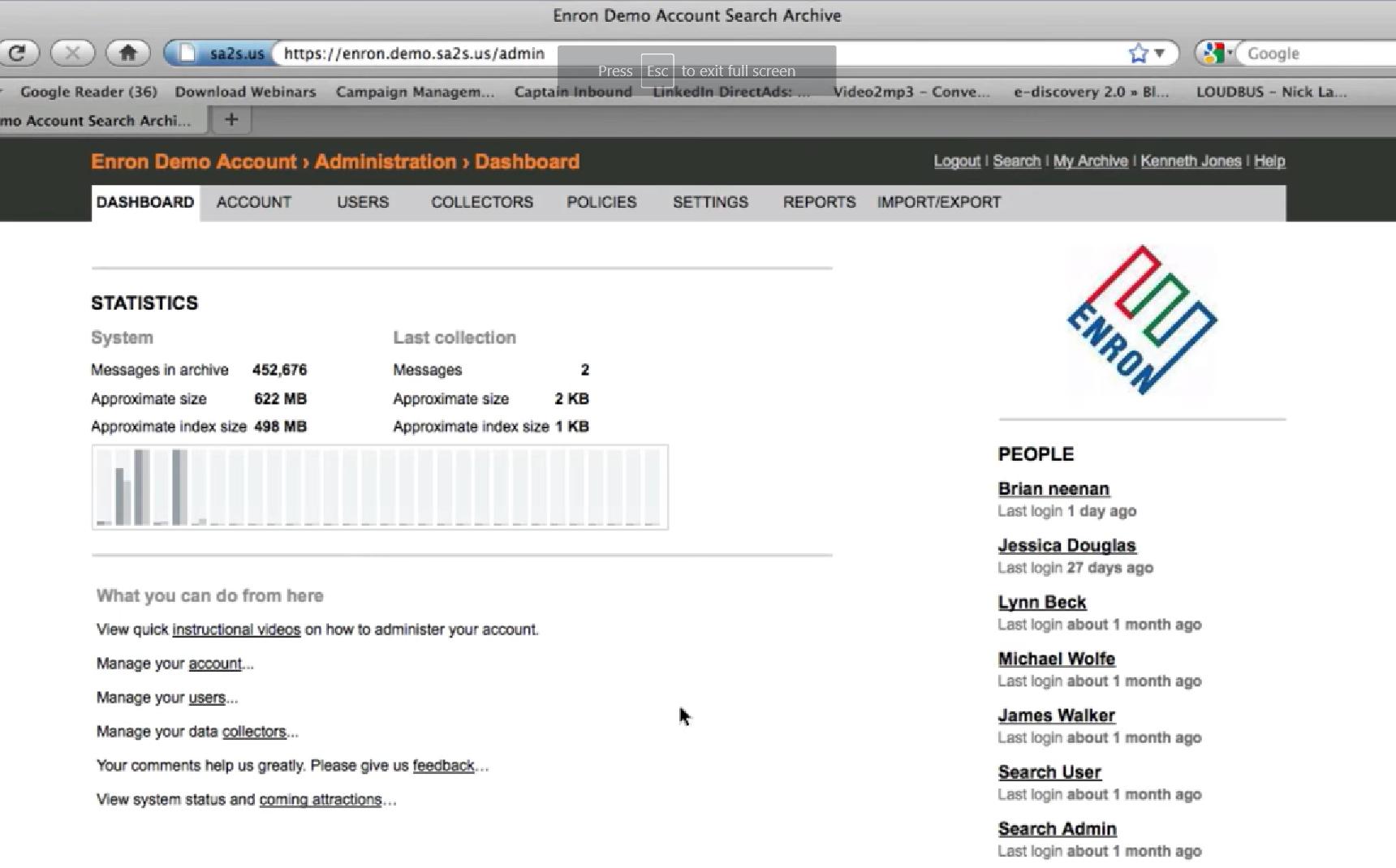 Sonain administrator dashboard for Enron demo account