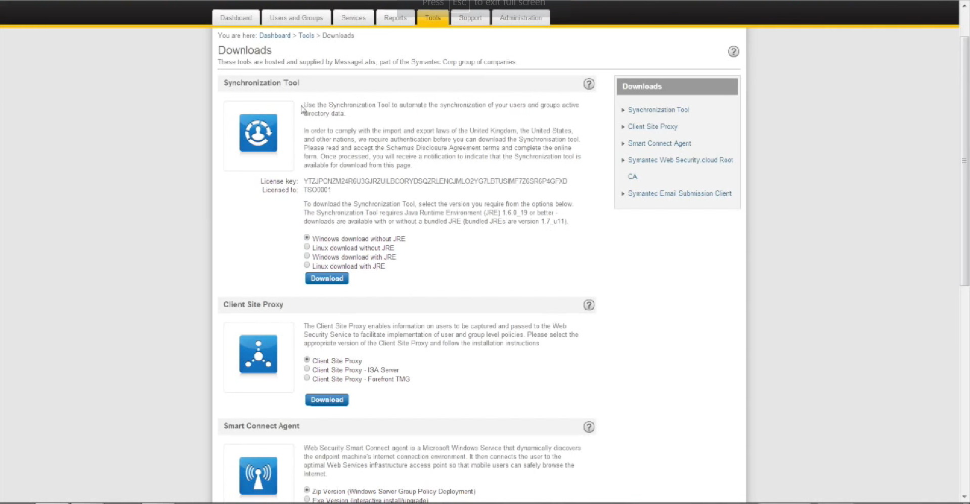 Symantec Cloud Download tools
