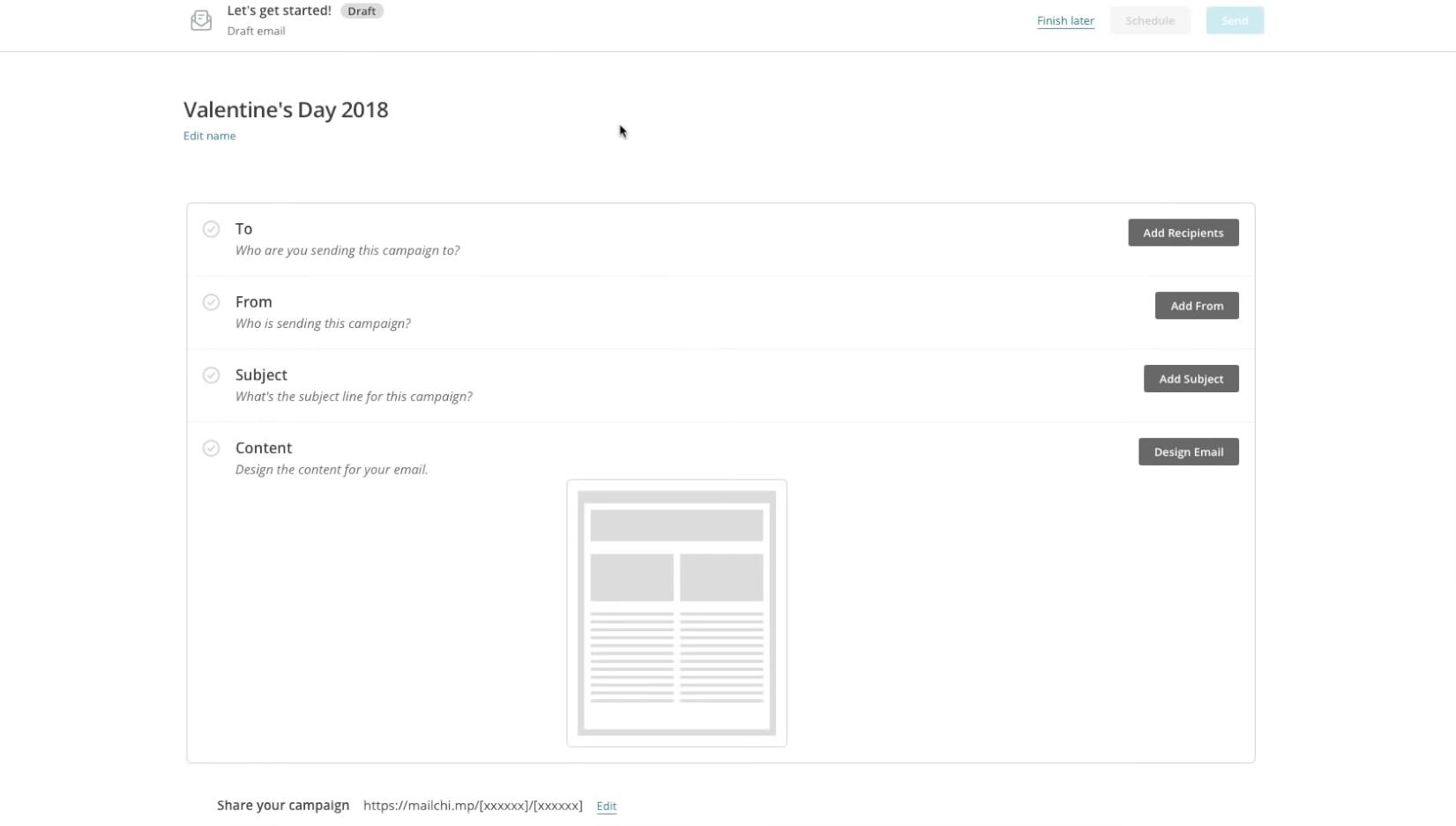 MailChip Email Draft Builder