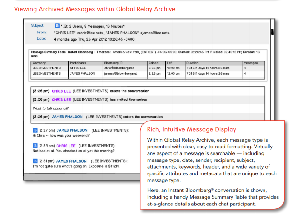 Instant Bloomberg message viewed in the Global Relay Archive