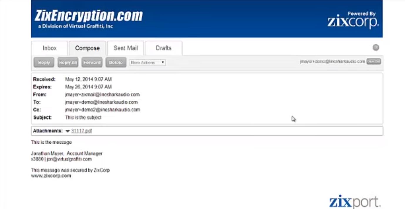ZixEncrypt Secure Web Portal