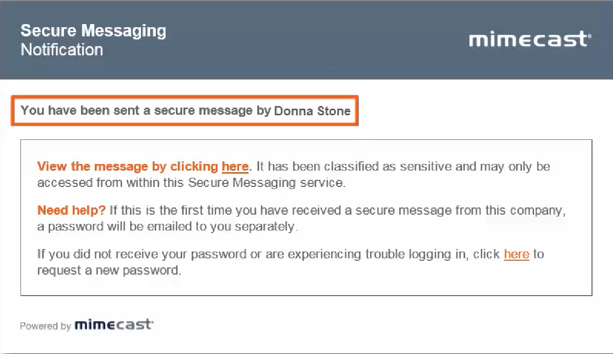 Receiving an encrypted email on Mimecast requesting login to secure web portal
