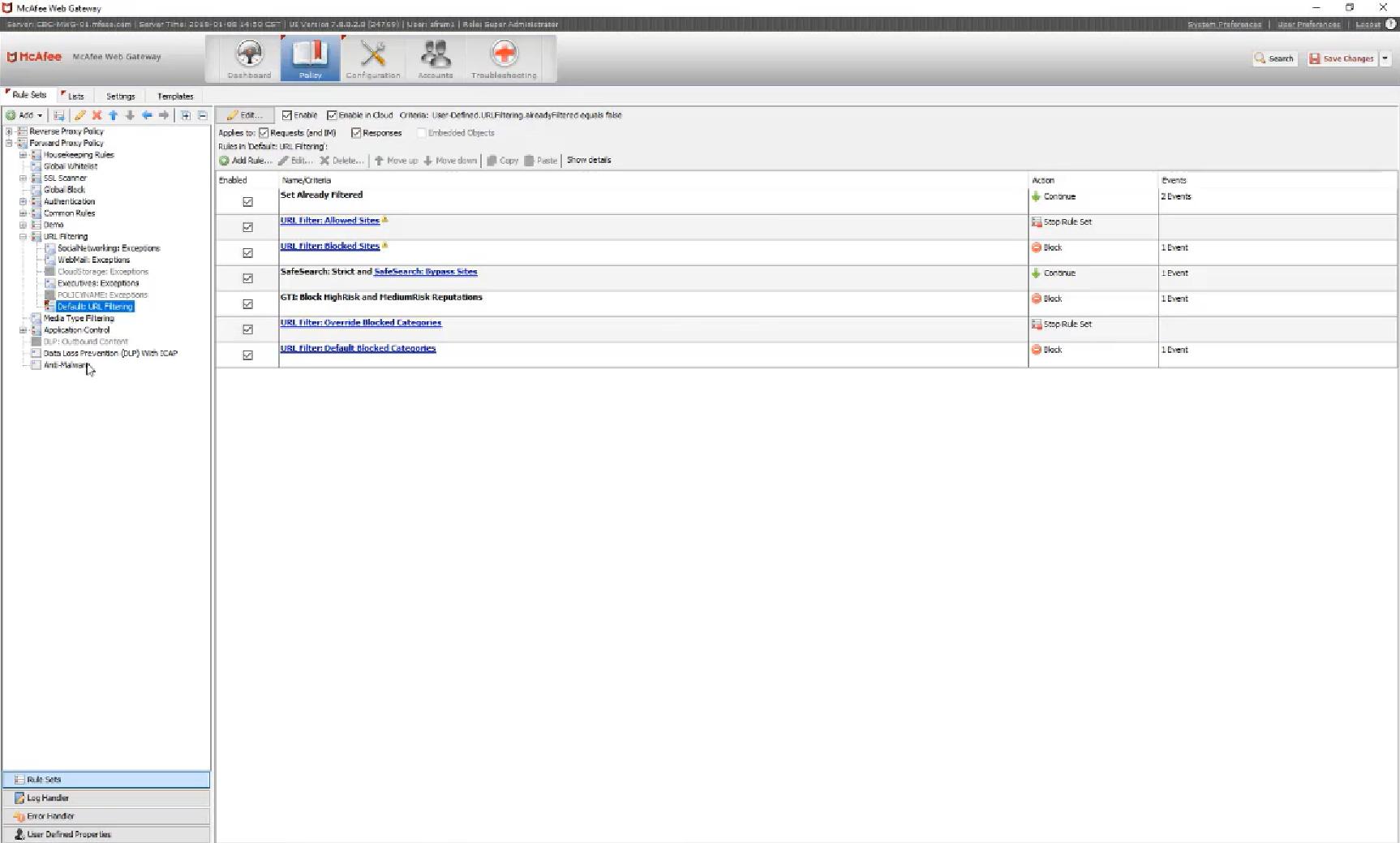 McAfee Secure Web Gateway policies