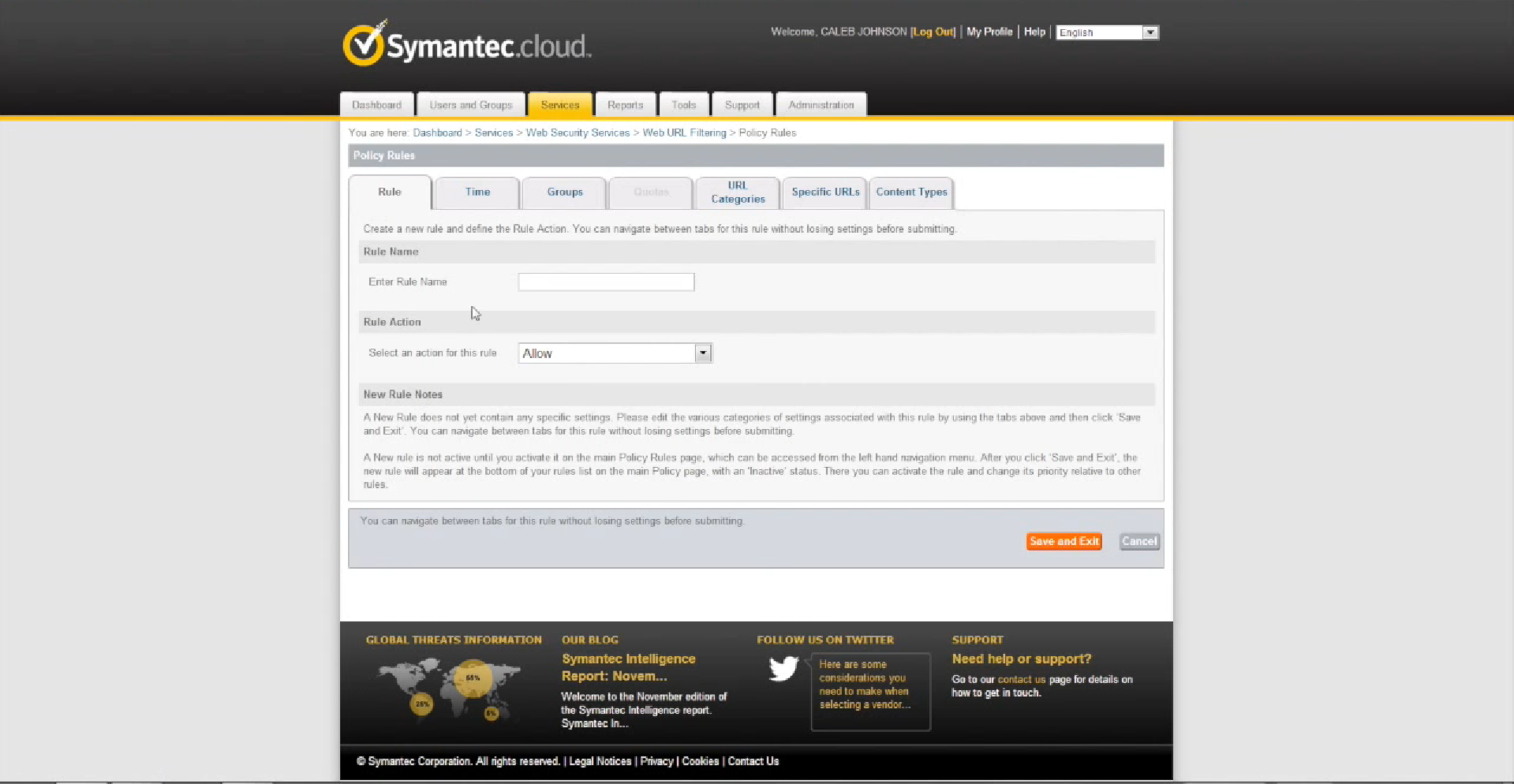 Symantec Cloud Policy Rules