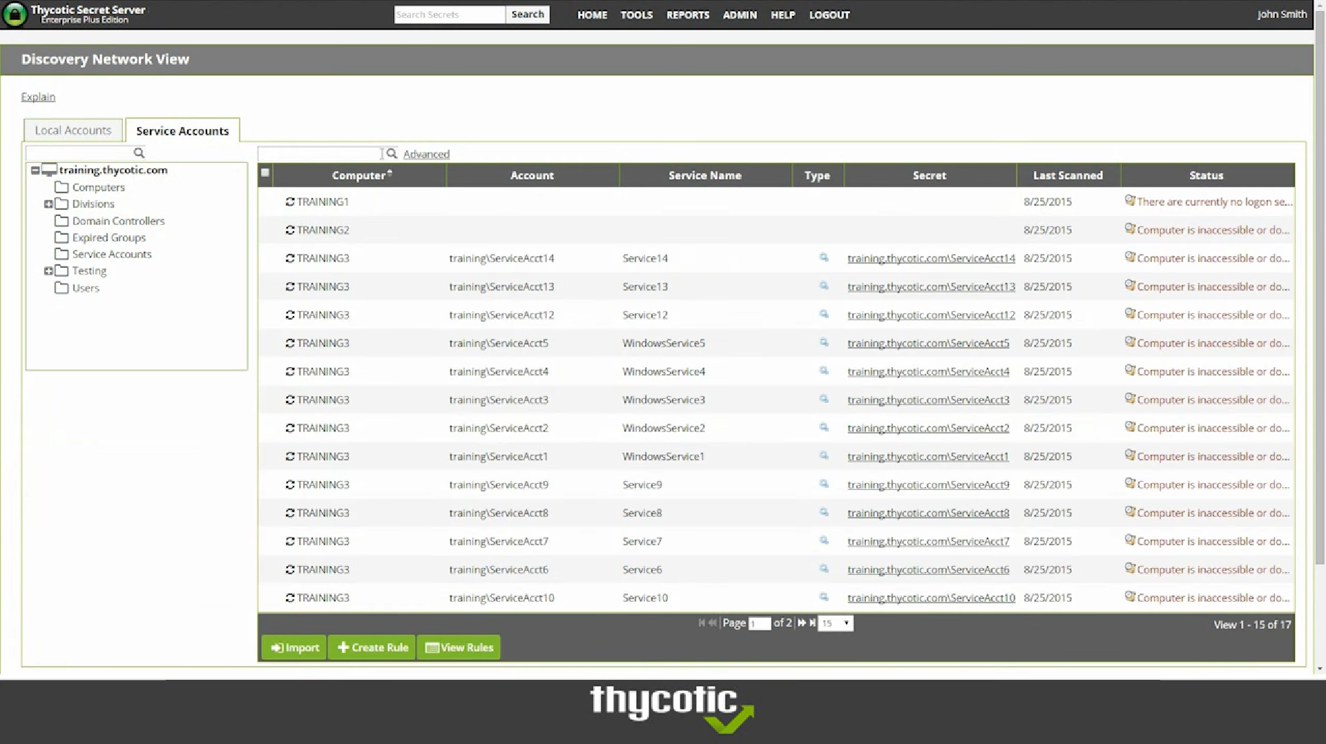 Thycotic secret server Discovery Network view