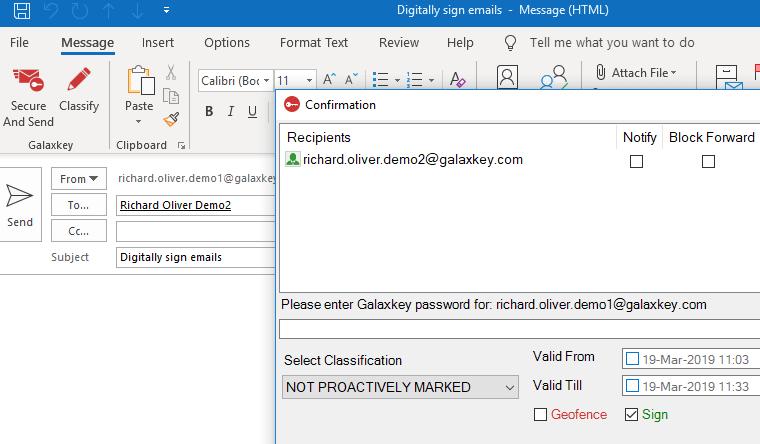 Galaxkey digitally signed email