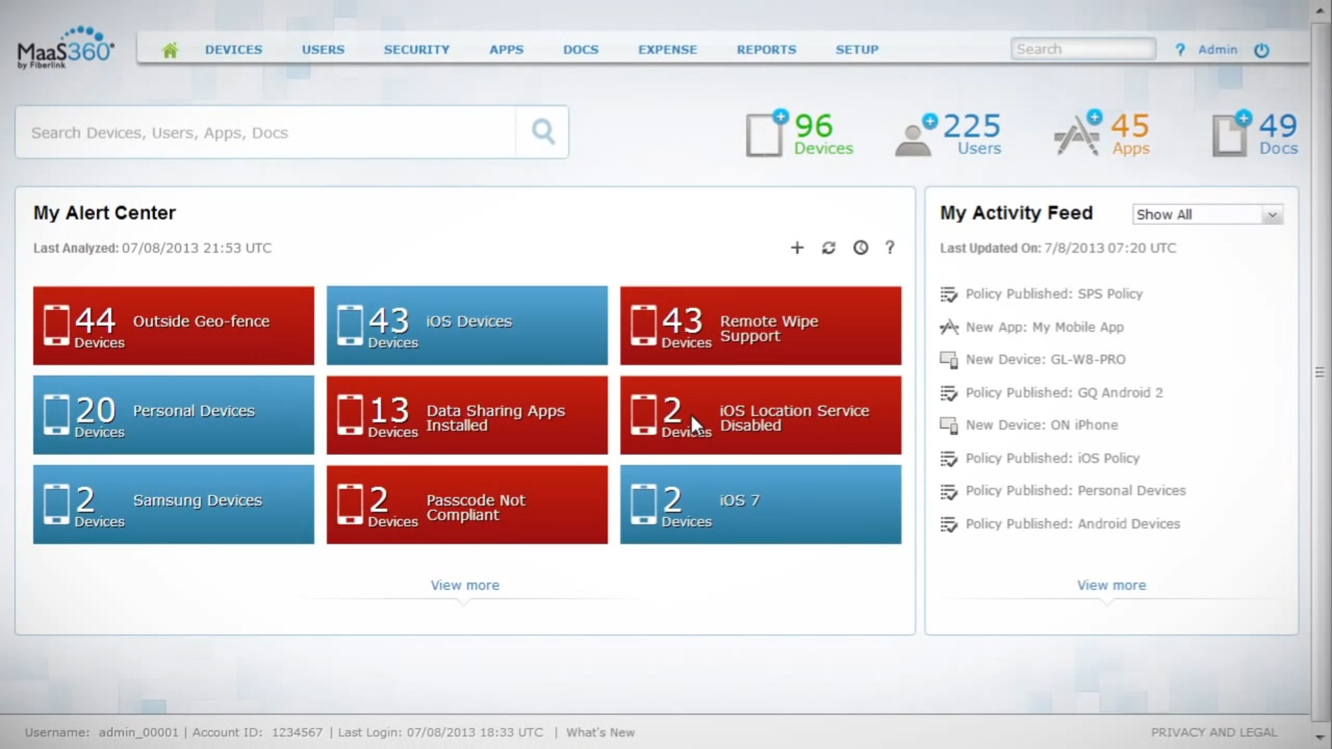 IBM mobile application secuirty dashboard