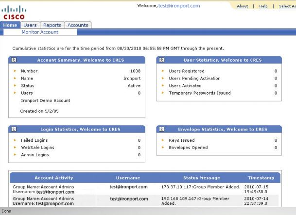 Administrator interface for Cisco Registered Envelope Service