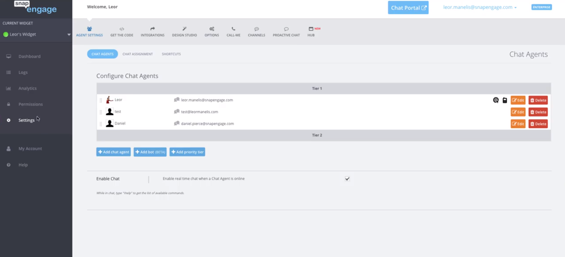 SnapEngage Configure chat agents