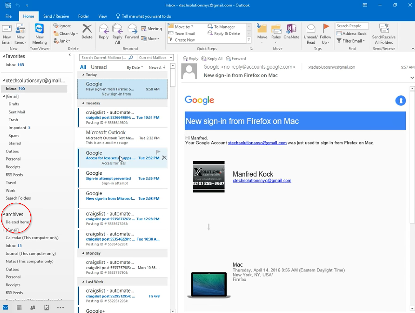 Accessing exchange online archive in Outlook client