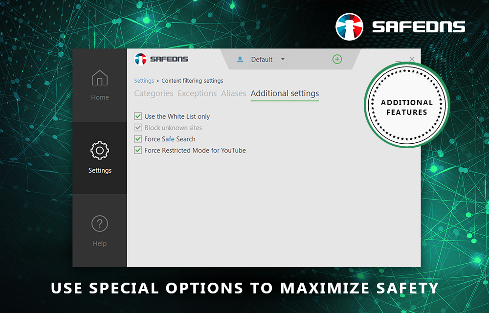 SafeDNS allows Google safe search to be enabled.