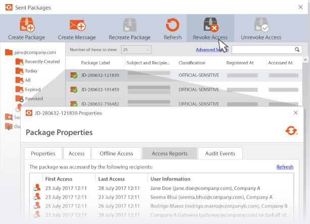 Revoking access to a sent email using Egress Encryption